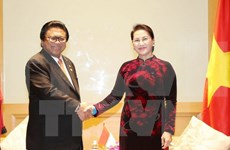 国会主席阮氏金银会见印尼地方代表理事会主席乌斯曼•沙普达