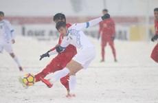 2018年U23亚洲杯决赛:越南队上半场以1比1战平乌兹别克斯坦队