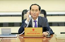 越南国家主席陈大光与俄罗斯总统普京通电话