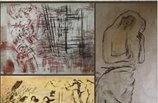 胡志明市美术博物馆展示阮家智画家的宝贵草图