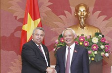 越南国家副主席汪周刘会见古巴工人中央工会秘书长吉拉特