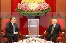 越共中央总书记会见美国国务卿蓬佩奥