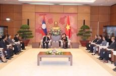 越南国会主席阮氏金银会见老挝国会副主席森暖