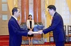 越南国家主席陈大光接受九国新任驻越大使递交国书