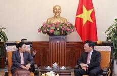 越南政府副总理兼外交部长范平明会见老挝外交副部长