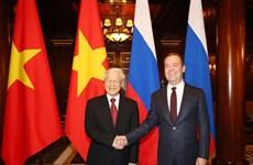 越共中央总书记阮富仲会见俄罗斯总理梅德韦杰夫