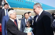 越共中央总书记阮富仲抵达首都莫斯科  开始对俄罗斯进行正式访问