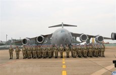 越南维和部队出征 赶赴南苏丹执行任务