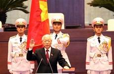 越南第十四届国会第六次会议:阮富仲同志宣誓就任2016-2021年任期国家主席