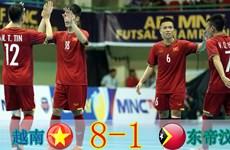 两战打进17球 越南五人制足球队提前晋级半决赛