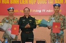 越南继续派遣两名军官赴南苏丹执行维和任务