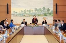 越南国会主席阮氏金银会见越南青年企业家代表