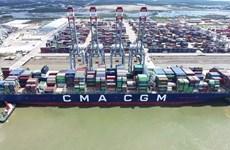 巴地头顿省盖梅国际港码头迎来世界最大集装箱船