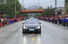 朝鲜最高领导人金正恩车队离开同登火车站 驶往河内