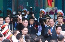 朝鲜最高领导人金正恩离开同登火车站 结束对越南进行正式友好访问