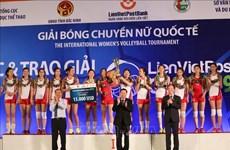 朝鲜女排出色获得2019年越南联越邮政银行女排锦标赛冠军