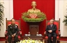 越共中央书记处常务书记陈国旺会见老挝人民军高级政治代表团