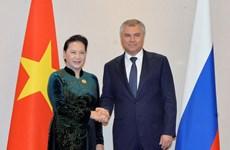 国会主席阮氏金银会见俄罗斯联邦国家杜马主席