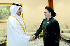 越南国会主席阮氏金银会见卡塔尔首相阿勒萨尼