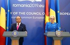 阮春福与罗马尼亚总理登奇勒共同会见记者