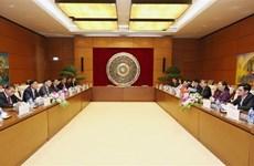 越南国会副主席丛氏放与老挝国会副主席宋潘·平坎米举行会谈
