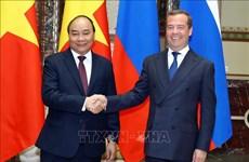 越俄两国总理共同主持记者会  对外通报会谈结果