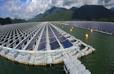 越南首家太阳能发电厂在水库上面建成投运