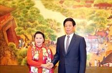 越南国会主席阮氏金银同中国全国人大常委会委员长栗战书举行会谈