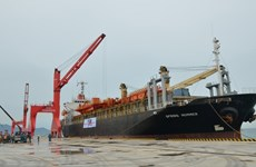 越南平顺省遂风县永新国际港接靠开港后首艘外籍船