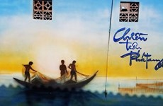 在三江泻湖区的壁画村