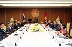 越南国会主席阮氏金银与泰国国会下议院议长川•立派举行会谈