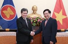 越南政府副总理兼外长范平明会见东盟秘书长林玉辉