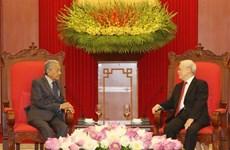 越共中央总书记、国家主席阮富仲会见马来西亚总理马哈蒂尔
