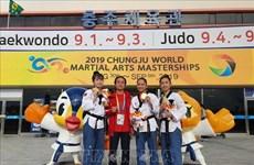 越南跆拳道运动员在韩国忠州世界武艺大赛夺得金牌