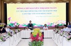 越南国会主席阮氏金银莅临同塔省调研