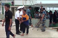 海上遇险的广义省46名渔民安全回到陆地