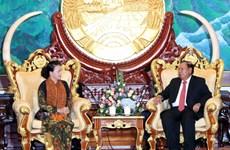 越南国会主席阮氏金银会见老挝人民革命党中央总书记、国家主席本扬