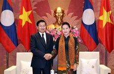 越南国会主席阮氏金银会见老挝政府总理通伦·西苏里