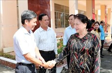 越南国会主席阮氏金银接触芹苴市丰田镇选民