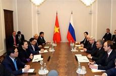 越南国会主席阮氏金银与俄罗斯国家杜马主席沃洛金举行会谈