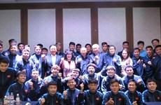越南驻韩国大使走访慰问在韩国参加集训的越南国家男子足球队