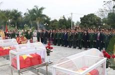 奠边省为在老牺牲的15具越南志愿军遗骸举行追掉会和安葬仪式