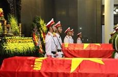 越共中央公安党委、公安部为在同心乡执行任务时牺牲的三名公安烈士隆重举行葬礼仪式