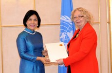 越南常驻日内瓦代表黎氏雪梅大使向联合国日内瓦办事处总干事递交国书