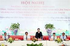 越南国会主席阮氏金银出席东南部和九龙江三角洲地区人民议会常务会议
