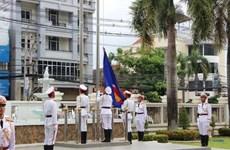 老挝举行东盟旗升旗仪式庆祝东盟成立53周年