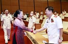 阮氏金银会见维护国家安全先进集体和个人代表团