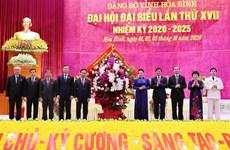 迎接党的十三大:国会主席阮氏金银出席越共和平省第十七次代表大会