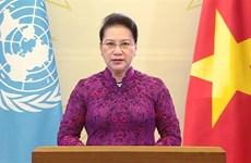 越南国会主席阮氏金银在纪念第四次世界妇女大会25周年高级别会议上通过视频发表讲话