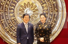 越南国会主席阮氏金银与韩国国会议长朴炳锡举行会谈